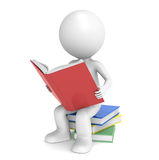 Education. 3D little human character sitting on a pile of Books, reading. People Series Stock Photo