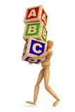 Education. Dummy carrying cubes ( Computer Generated Images Vector Illustration