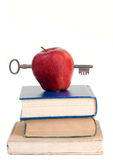 Education. Going to school is your future. Education, learning, teaching. A graduation cap with an apple Stock Photography