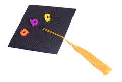 Education. Going to school is your future. Education, learning, teaching. A graduation cap with an apple Stock Photos