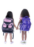 Education. Going to school is your future. Education, learning, teaching. Two young girls head off to school Stock Photo