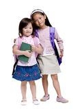 Education. Going to school is your future. Education, learning, teaching. Two young girls ready for school Royalty Free Stock Photos
