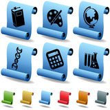 Education 3D Scroll Button Set. Set of 6 3D Education Buttons - Scroll Style Stock Image