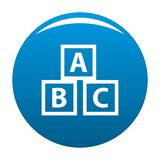 Education abc blocks icon blue. Circle isolated on white background Stock Image