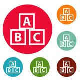 Education abc blocks icons circle set vector. Isolated on white background Stock Photos
