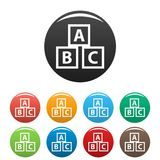 Education abc blocks icons set. Simple set of education abc blocks  icons in different colors isolated on white Royalty Free Stock Photography