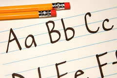 Education ABCs. Written letter of the alphabet for students Royalty Free Stock Photos
