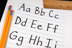 Education ABCs. Written letter of the alphabet for students Stock Photo
