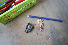 Education, accessories (pencils, sharpener). Royalty Free Stock Photos
