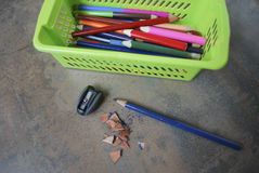 Education, accessories (pencils, sharpener). Royalty Free Stock Photography