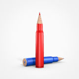 Education agains violence. Red and blue pencil in bullets shape Stock Images