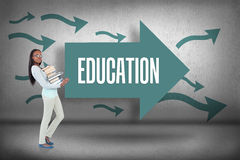 Education against arrows pointing Royalty Free Stock Photo