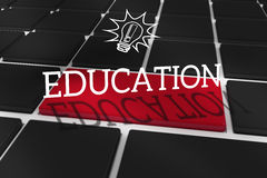 Education against black keyboard with red key Stock Photography