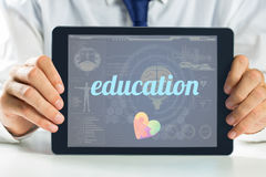 Education against medical biology interface in blue Royalty Free Stock Images