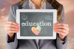 Education against medical biology interface in blue Stock Images