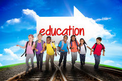 Education against railway leading to blue sky Royalty Free Stock Image