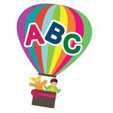Education Air balloon. Hot air education balloon kids vector illustration and abc alphabets isolated over white background Stock Image