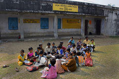 "Education for All. A group of children is waiting outside the school to open in rural India. The school is free of charge and aided for the campaign "" Royalty Free Stock Images"