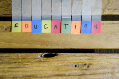 Education alpabet on wood pattern Stock Photos
