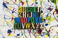 Alphabet spelling education abc letterpress stock images