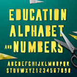 Education alphabet and numbers, cut out from paper. Education alphabet and numbers, paper craft design, cut out by scissors from paper. Vector Eps10 illustration vector illustration
