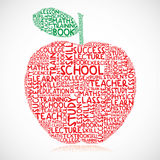 Education apple. Illustration of apple made of education words and symbols Royalty Free Stock Photos