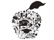 Education apple. Isolated an education apple filled with education icons Royalty Free Stock Photography