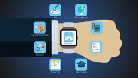 Education application function for smart watch,mobile watch stock footage