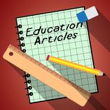 Education Articles Represents Learning Information 3d Illustration. Education Articles Notebook Represents Learning Information 3d Illustration royalty free illustration
