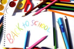 Education artist desk with water colour, crayons,, pencil with copy space on table. Back to school. Education artist desk with water colour, crayons,, pencil royalty free stock photos