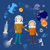 Education astronomy lesson teacher and schoolboy back to school Royalty Free Stock Photos