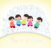 Education on back to school background. Little Children happy playing illuttration Stock Images