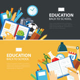 Education and back to school banner concept flat design Stock Photos