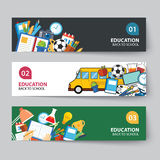 Education and back to school banner concept flat design Royalty Free Stock Photo
