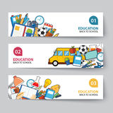 Education and back to school banner concept flat design Royalty Free Stock Images