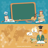 Education back to school blackboard schoolboy students banners Royalty Free Stock Photos