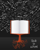 Education back to school book tree over chalkboard Royalty Free Stock Photo