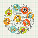Education back to school colorful social icons. Back to School education colorful circle icons. Vector layered for easy personalization Royalty Free Stock Image