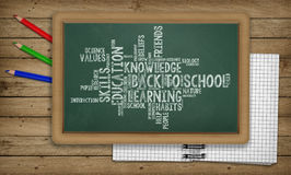 Education, Back to School Concept, Blackboard with word cloud, Notepad Royalty Free Stock Photo
