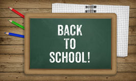 Education, Back to School Concept, notepad, pencils, green black Royalty Free Stock Images
