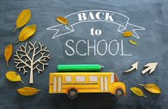 Education and back to school concept. Top view photo of cardboard school bus and pencil next to tree with autumn dry leaves over. Classroom blackboard stock photos