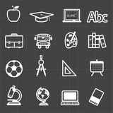 Education back to school icons and black background Stock Photos