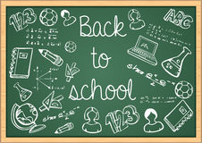Education back to school icons over green chalkboa Stock Image