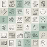 Education and back to school line icons set. Stock Photos