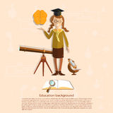Education, back to school, school girl, astronomy Royalty Free Stock Photo
