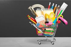 Education. Back to School Shopping School Supplies Equipment Sale Shopping Cart Royalty Free Stock Images