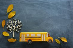 Education and back to school. Top view photo of cardboard school bus next to autumn dry leaves over classroom blackboard. Background royalty free stock photo