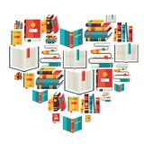 Education background with books in flat design vector illustration