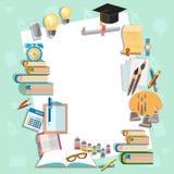 Education background diploma exams back to school college. Campus algebra mathematics graduation cup vector illustration Stock Photo