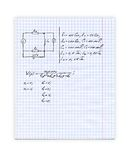 Education background with hand written formulas over notepad page Royalty Free Stock Photography